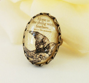 Immensely pretty, very vintage looking Emily Dickinson quote ring. # ...