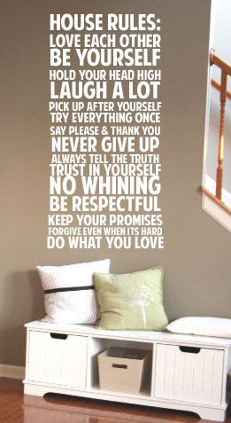 House Rules Never Give up Say Please & Thank You BIG Vinyl Decal 22x49 ...