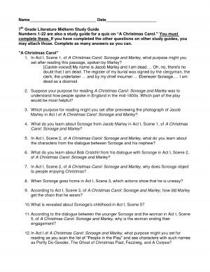 7th grade midterm study guide lit