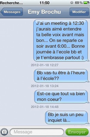 Heartbreaking: In her final text, Ms Brochu writes: ¿I love you and I ...