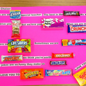 Teacher Appreciation poster using Candy Bars.