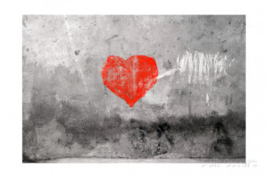Red Heart Graffiti Over Grunge Cement Wall Art Print
