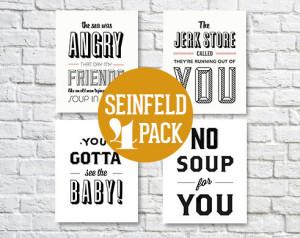 Seinfeld Quotes, Seinfeld Poster, Cosmo Kramer, 5x7 Art Prints, Black ...