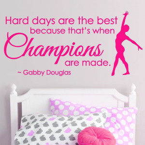 CHAMPIONS Gymnastics Dance GIRLS SPORT Vinyl Wall Decor Mural Quote ...