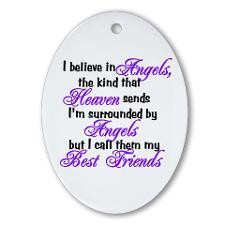 believe in angels, Oval Ornament for