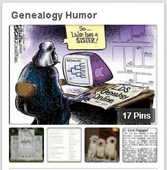 """... screenshot of GenealogyBank's """"Genealogy Humor"""" Pinterest board"""