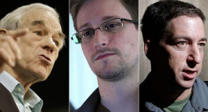 Ron Paul, Edward Snowden and Glenn Greenwald are pictured. | AP Photos