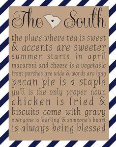 The South - South Carolina 8x10 print - Choose Your Color More