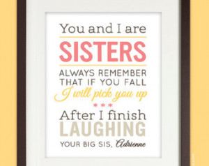 Personalized Birthday Gift for Sister, 8x10 Sisters Quote Art Print ...