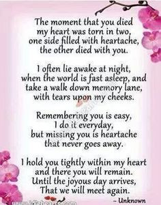IN HONOR & REMEMBRANCE OF MY MOM...