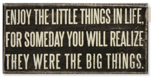 ... in life, for someday you will realize, they were the big things