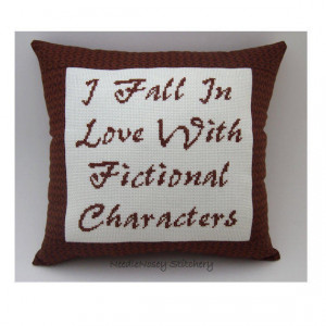 Funny Cross Stitch Pillow, Funny Quote, Brown Pillow, Reading Quote
