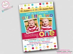 Colorful Fun Year - Twins' First Birthday Party Invitation (Digital ...
