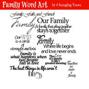 Family Word Art Collection 10 Quotes - Words and Phrases Clip art ...