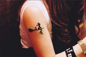 cat on her broom cat tattoos witch tattoos broom tattoos tattoos ...