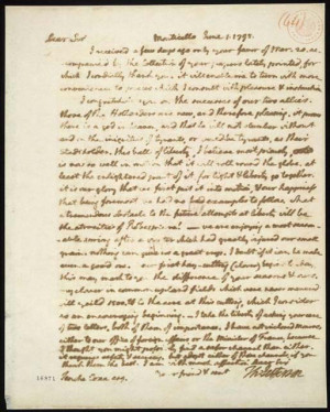 Thomas Jefferson to Tench Coxe. June 1, 1795. Manuscript letter ...