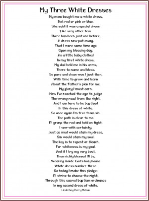 Lds Baptism Lds Baptism Poem my Three