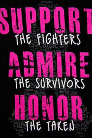 Support the fighters, admire the survivors and honor the taken