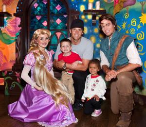 Tom Brady and Family Meet Rapunzel and Flynn Ryder at Disneyland Park