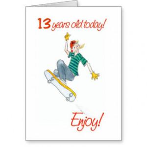Skateboarding Boy 13th Birthday Card
