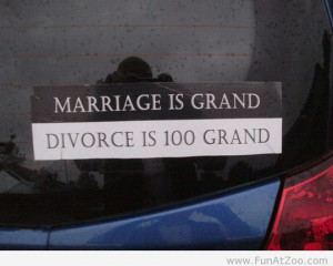 Tagged car sticker , divorce , marriage