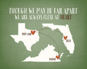 ... Custom Maps, Long Distance Family Relationship Quotes, Gift, Wall Art