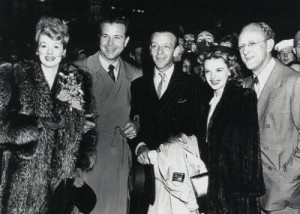 Lucy with Dick Powell, Fred Astaire, Judy Garland and Kay Kyser (via)