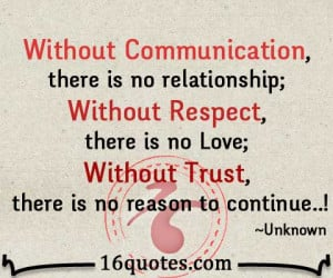 Communication, there is no relationship; Without Respect, there is no ...