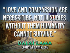 """... , not luxuries. Without them humanity cannot survive."""" _ Dalai Lama"""