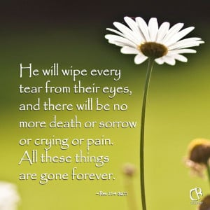 will wipe every tear from their eyes, and there will be no more death ...