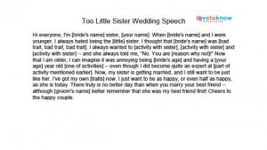Download too little sister wedding speech