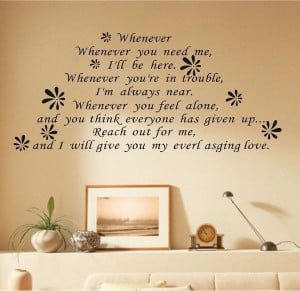 Whenever You Need Me...Adhesive Wall Sticker Love Letters Quotes ...