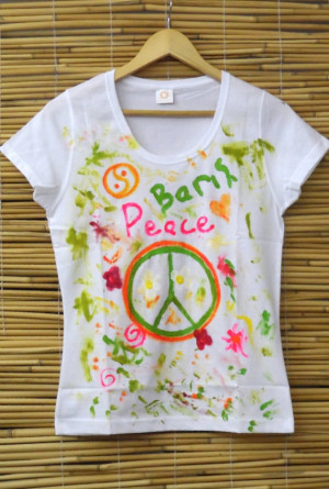 Hand Painted Quote Tshirt, Hippie Style, Peace Sign