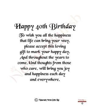 Happy 40th Birthday 8×6 Verse