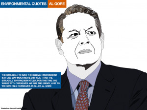 Environmental quotes. Al Gore. Illustrations Kenneth buddha Jeans
