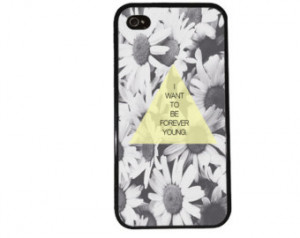 FOREVER YOUNG iPhone Case / Daisy Quote iPhone 4 Case Hipster iPhone 5 ...