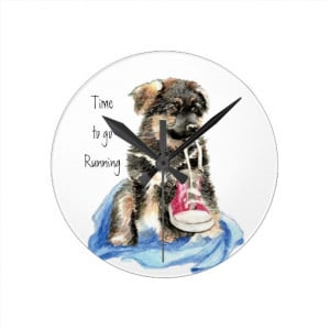 time_to_go_running_motivation_quote_cute_dog_clock ...