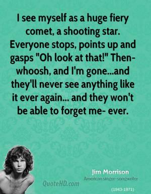 see myself as a huge fiery comet, a shooting star. Everyone stops ...