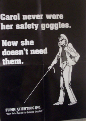 ... old poster warning students to use safety goggles in science class
