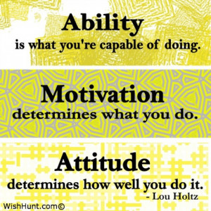 The difference between Ability, Motivation, and Attitude by Lou Holtz
