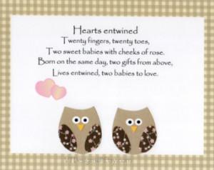 ... , Kids Wall Art, Twins Poem, Owls, Verse, Hearts Entwined, 8x10 Print