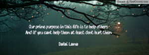 Our prime purpose in this life is to help others...And if you can't ...