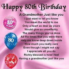 ... Coaster Grandmother Poem - 80th Birthday Design + FREE GIFT BOX