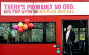 Professor Richard Dawkins on a bus displaying an atheist message in ...