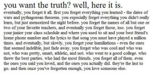 Eventually, You Forget It All