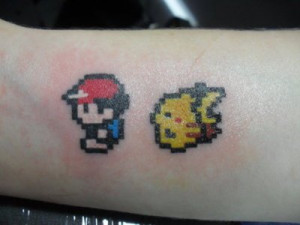 Pokemon: 8-bit Ash and Pikachu Tattoo, don't care how nerdy this is I ...