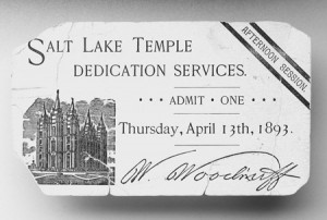 Temple recommend for dedication of Salt Lake City Temple