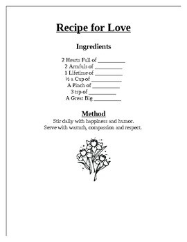 Recipe for Love- Mother's Day Activity