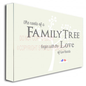 ... Family treebegin with the love of two hearts printed wall art sayings