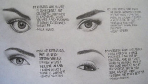 drawing, eyes, quote
